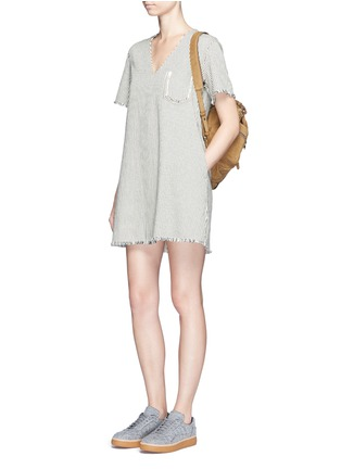 Figure View - Click To Enlarge - T By Alexander Wang - V-neck frayed stripe denim dress