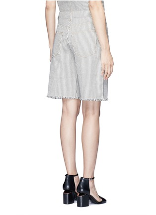 Back View - Click To Enlarge - T By Alexander Wang - Frayed cuff stripe denim shorts