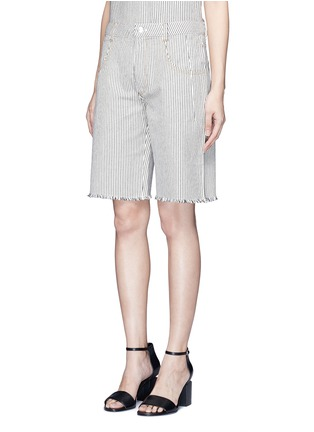 Front View - Click To Enlarge - T By Alexander Wang - Frayed cuff stripe denim shorts