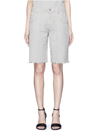 Main View - Click To Enlarge - T By Alexander Wang - Frayed cuff stripe denim shorts