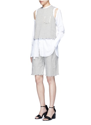 Figure View - Click To Enlarge - T By Alexander Wang - Frayed cuff stripe denim shorts