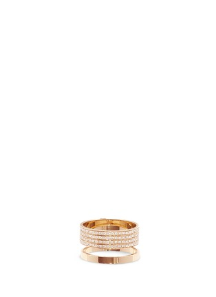 Main View - Click To Enlarge - REPOSSI - 'Berbère' diamond pavé 18k rose gold two row ring