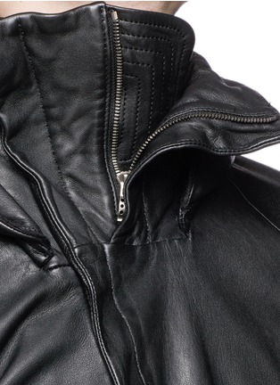 Detail View - Click To Enlarge - DEVOA - Leather hood jacket