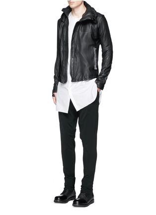 Figure View - Click To Enlarge - DEVOA - Leather hood jacket