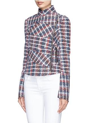 Front View - Click To Enlarge - Victoria Beckham - Bouclé check tweed biker jacket