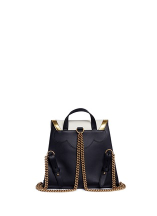 Back View - Click To Enlarge - Gucci - 'Peony' floral faux pearl stud leather chain backpack