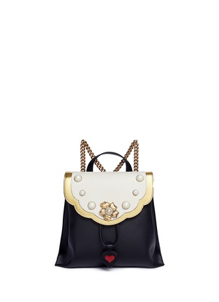 Main View - Click To Enlarge - Gucci - 'Peony' floral faux pearl stud leather chain backpack
