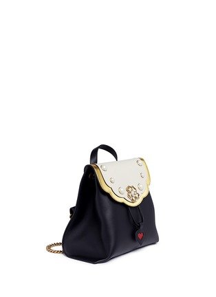Figure View - Click To Enlarge - Gucci - 'Peony' floral faux pearl stud leather chain backpack