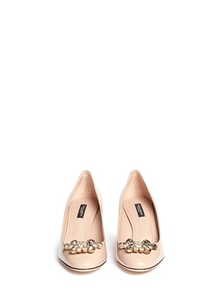 Front View - Click To Enlarge - Dolce & Gabbana - Jewel brooch patent leather pumps