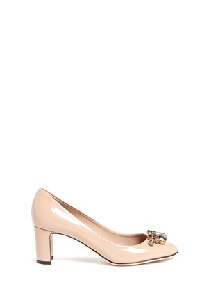Main View - Click To Enlarge - Dolce & Gabbana - Jewel brooch patent leather pumps