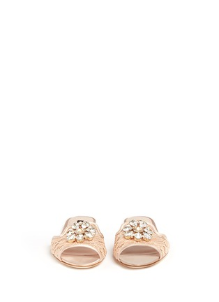 Front View - Click To Enlarge - - - 'Bianca R' jewelled Taormina lace slippers