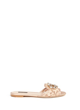 Main View - Click To Enlarge - - - 'Bianca R' jewelled Taormina lace slippers
