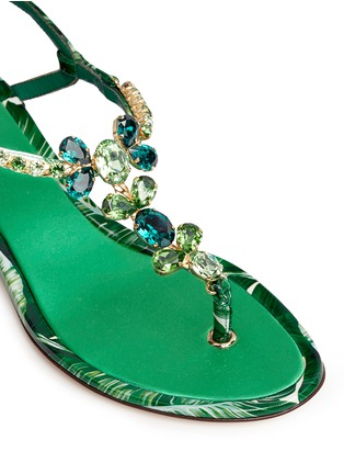 Detail View - Click To Enlarge - Dolce & Gabbana - 'Keira' banana leaf print jewelled patent leather sandals