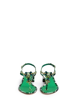 Front View - Click To Enlarge - Dolce & Gabbana - 'Keira' banana leaf print jewelled patent leather sandals