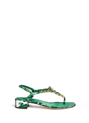 Main View - Click To Enlarge - Dolce & Gabbana - 'Keira' banana leaf print jewelled patent leather sandals