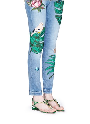 Figure View - Click To Enlarge - Dolce & Gabbana - 'Keira' banana leaf print jewelled patent leather sandals