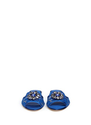 Front View - Click To Enlarge - Dolce & Gabbana - 'Bianca R' jewelled Taormina lace slippers