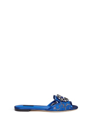 Main View - Click To Enlarge - Dolce & Gabbana - 'Bianca R' jewelled Taormina lace slippers