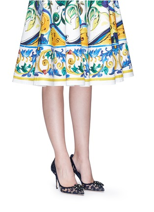 Figure View - Click To Enlarge - Dolce & Gabbana - 'Bellucci' jewel brooch Taormina lace pumps