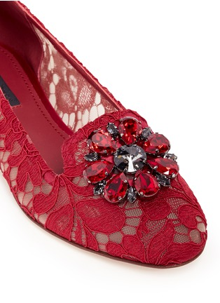 Detail View - Click To Enlarge - Dolce & Gabbana - 'Vally' jewel brooch Taormina lace flats