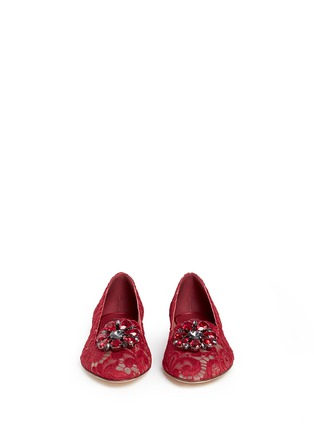Front View - Click To Enlarge - Dolce & Gabbana - 'Vally' jewel brooch Taormina lace flats