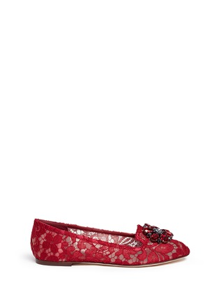 Main View - Click To Enlarge - Dolce & Gabbana - 'Vally' jewel brooch Taormina lace flats