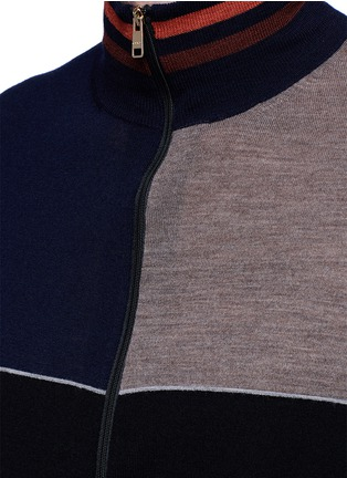 Detail View - Click To Enlarge - Paul Smith - Colourblock wool-silk turtleneck cardigan