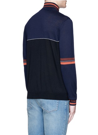 Back View - Click To Enlarge - Paul Smith - Colourblock wool-silk turtleneck cardigan