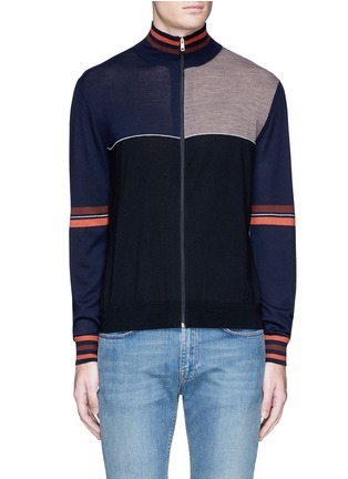 Main View - Click To Enlarge - Paul Smith - Colourblock wool-silk turtleneck cardigan