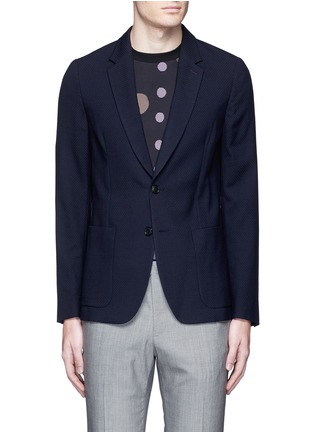 Main View - Click To Enlarge - PAUL SMITH - 'Soho' lattice overlay wool soft blazer