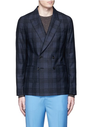 Main View - Click To Enlarge - PAUL SMITH - 'Soho' bouclé check plaid double breasted soft blazer