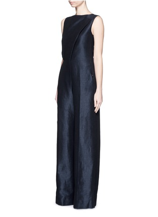 Front View - Click To Enlarge - Esteban Cortazar - Cutout back stretch linen-cotton jumpsuit