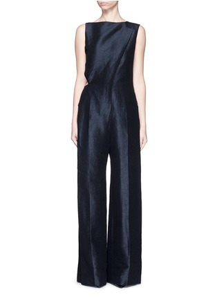 Main View - Click To Enlarge - Esteban Cortazar - Cutout back stretch linen-cotton jumpsuit