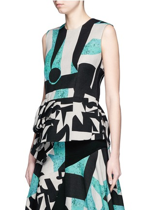 Front View - Click To Enlarge - Roksanda - 'Valmar' mélange colourblock peplum top