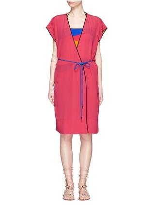 Main View - Click To Enlarge - Roksanda - Zavi' colourblock silk wrap tunic