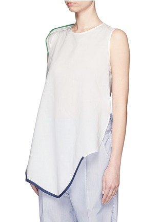 Front View - Click To Enlarge - Ports 1961 - Contrast piping asymmetric hem sleeveless top