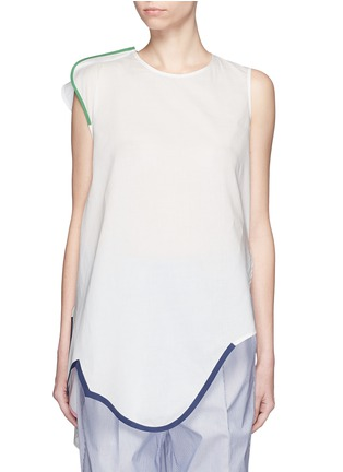 Main View - Click To Enlarge - Ports 1961 - Contrast piping asymmetric hem sleeveless top