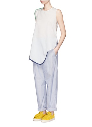 Figure View - Click To Enlarge - Ports 1961 - Contrast piping asymmetric hem sleeveless top