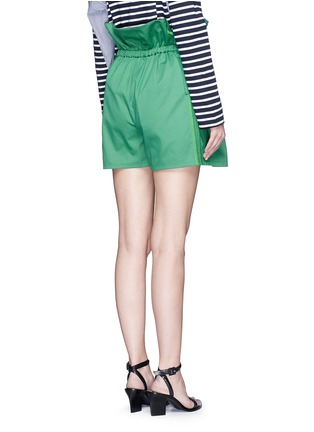 Back View - Click To Enlarge - PORTS 1961 - Paperbag waist drawstring cotton twill shorts