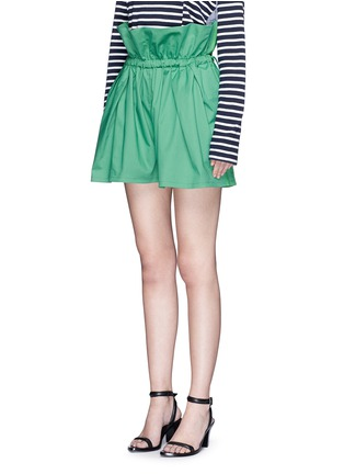 Front View - Click To Enlarge - PORTS 1961 - Paperbag waist drawstring cotton twill shorts