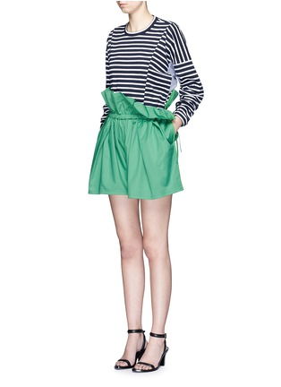 Figure View - Click To Enlarge - PORTS 1961 - Paperbag waist drawstring cotton twill shorts