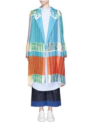 Detail View - Click To Enlarge - Ports 1961 - Oversize lapel fringe jacquard knit sash coat