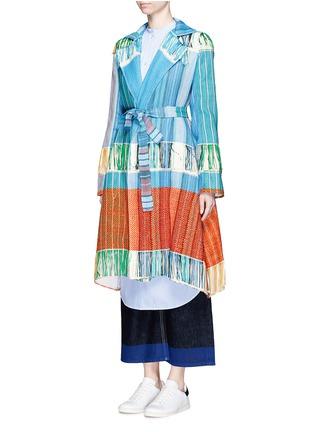 Front View - Click To Enlarge - Ports 1961 - Oversize lapel fringe jacquard knit sash coat