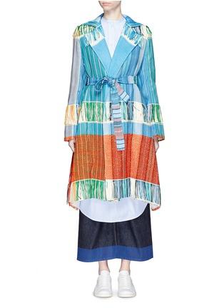 Main View - Click To Enlarge - Ports 1961 - Oversize lapel fringe jacquard knit sash coat