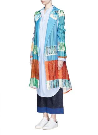 Figure View - Click To Enlarge - Ports 1961 - Oversize lapel fringe jacquard knit sash coat