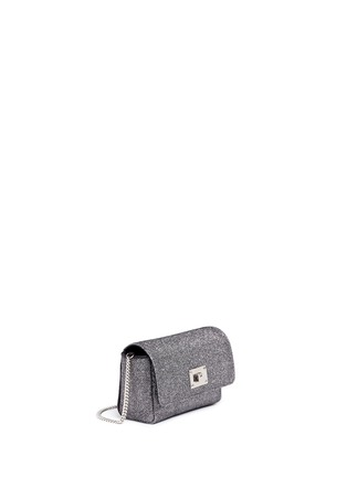 Front View - Click To Enlarge - Jimmy Choo - 'Ruby L' glitter lamé crossbody bag