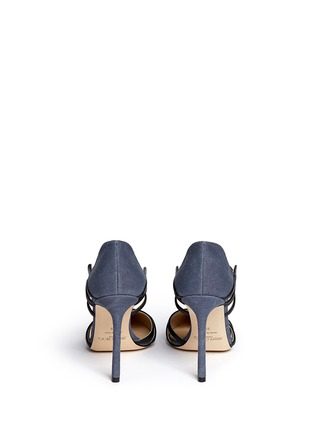 Back View - Click To Enlarge - Jimmy Choo - 'Hime' leather trim canvas pumps