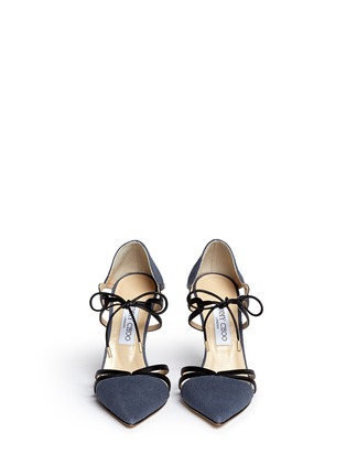 Front View - Click To Enlarge - Jimmy Choo - 'Hime' leather trim canvas pumps