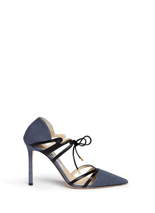 Main View - Click To Enlarge - Jimmy Choo - 'Hime' leather trim canvas pumps