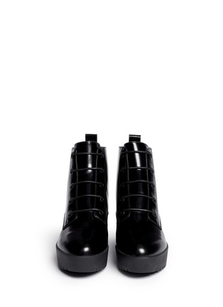 Figure View - Click To Enlarge - OPENING CEREMONY - 'Grunge' lace-up leather platform ankle boots